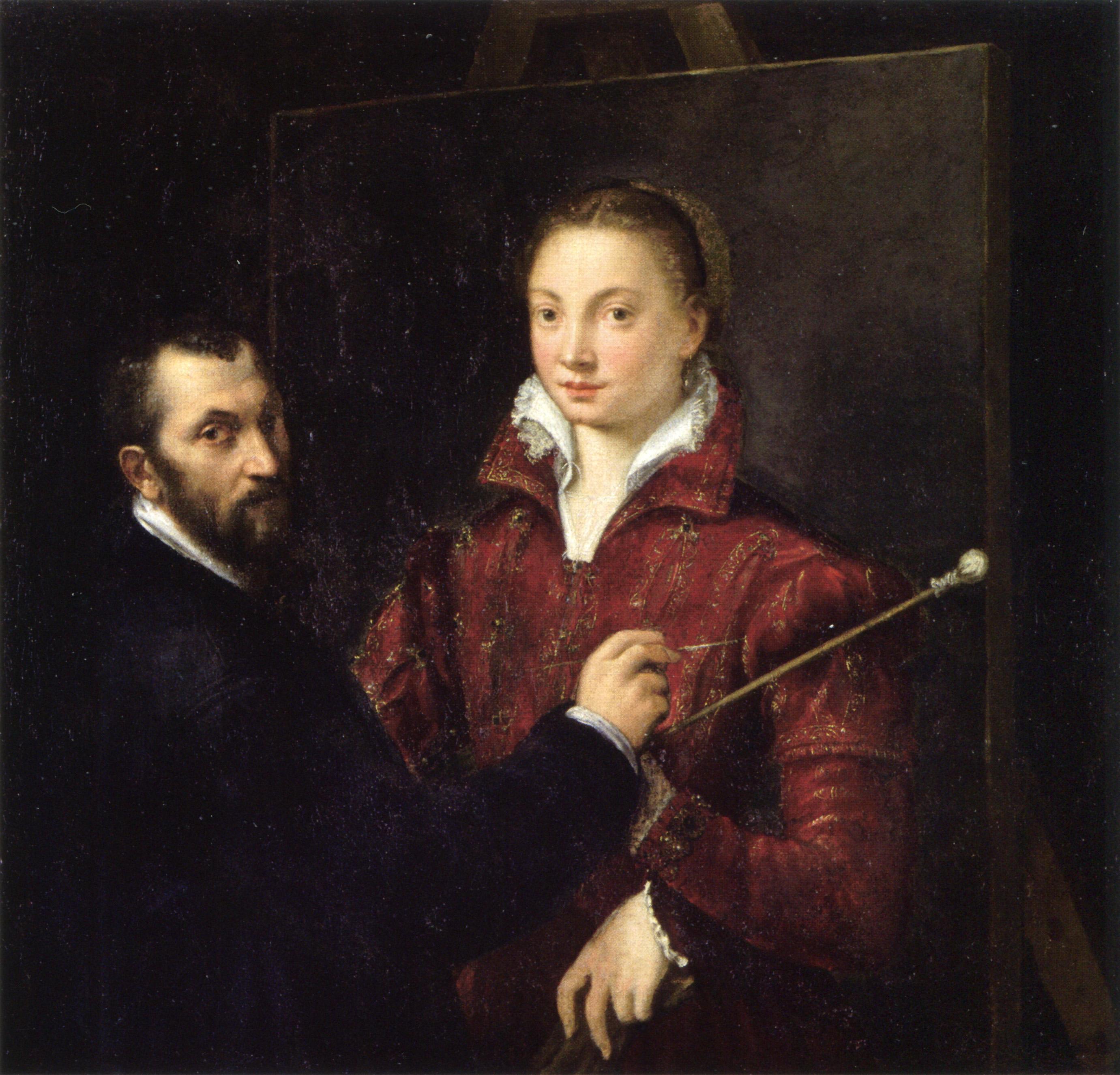 File:Self-portrait with Bernardino Campi by Sofonisba ...