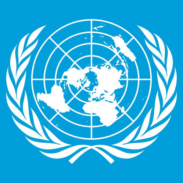 Fichier:UN emblem, white on blue background.png