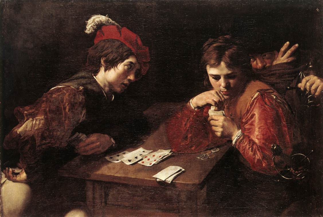 Valentin de Boulogne, Cardsharps (ca. 1615), Old Masters Gallery, State Art Collections, Dresden, Germany