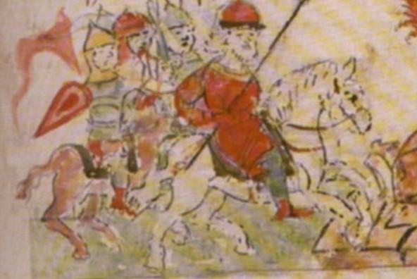 Князь Владимир идёт в поход на вятичей. Миниатюра из Радзивилловской летописи, 15 век