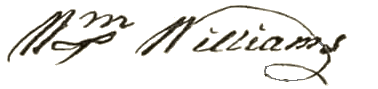 Williams' signature on the Declaration of Independence