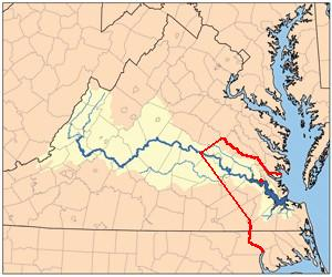 Red line showing the boundary between the Virginia Colony and Tributary Indian tribes, as established by the Treaty of 1646. The Red dot shows Jamestown, the capital of the Virginia Colony. 1646linemap.jpg