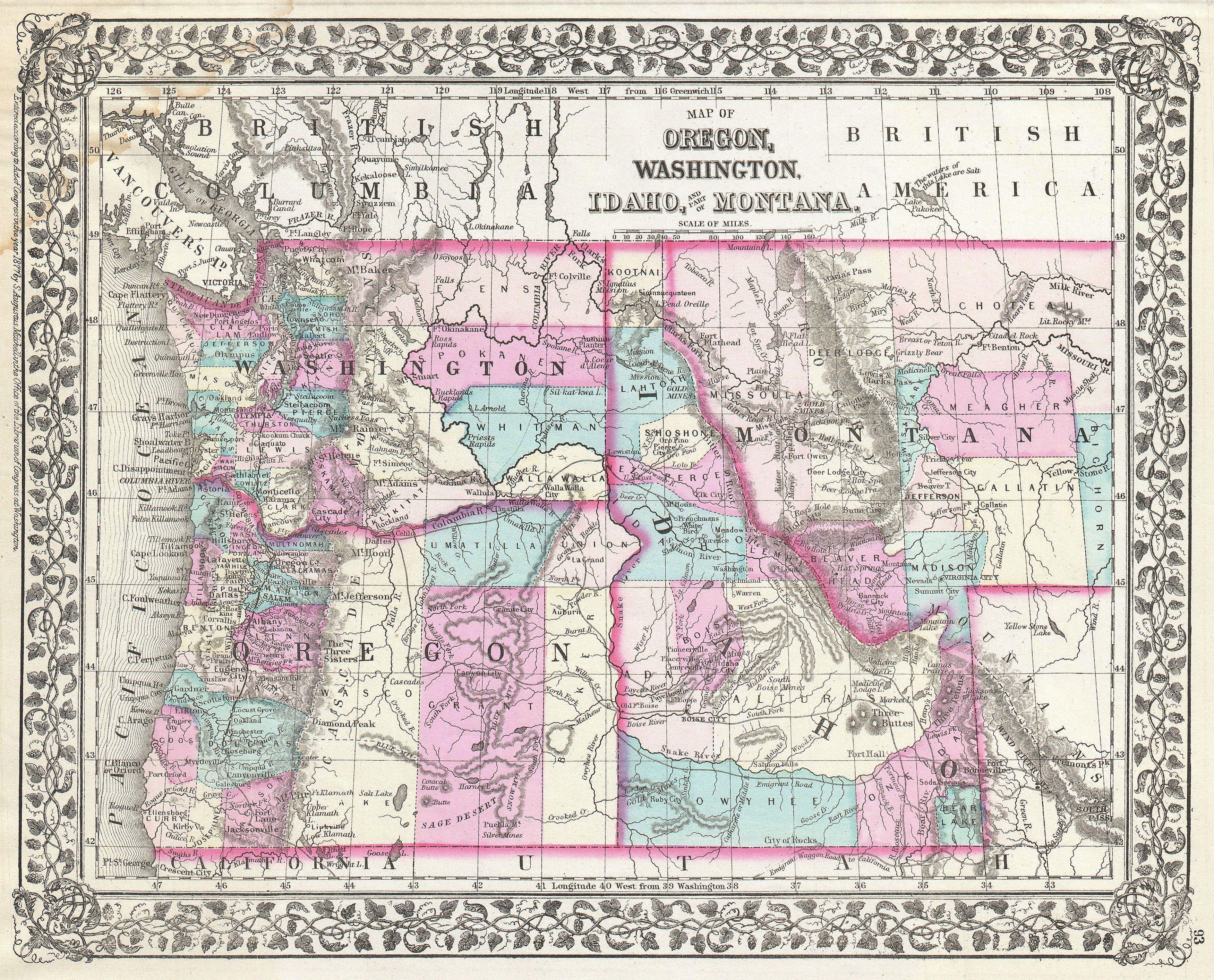 File1877 Mitchell Map Of Oregon Washington Idaho And