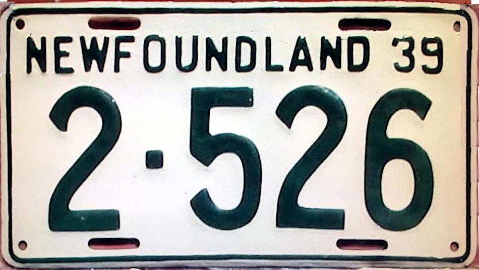 File:1939 Newfoundland passenger license plate - Number 2