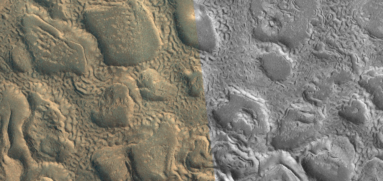 Close view of honeycomb shapes and brain terrain, as seen by HiRISE under HiWish program