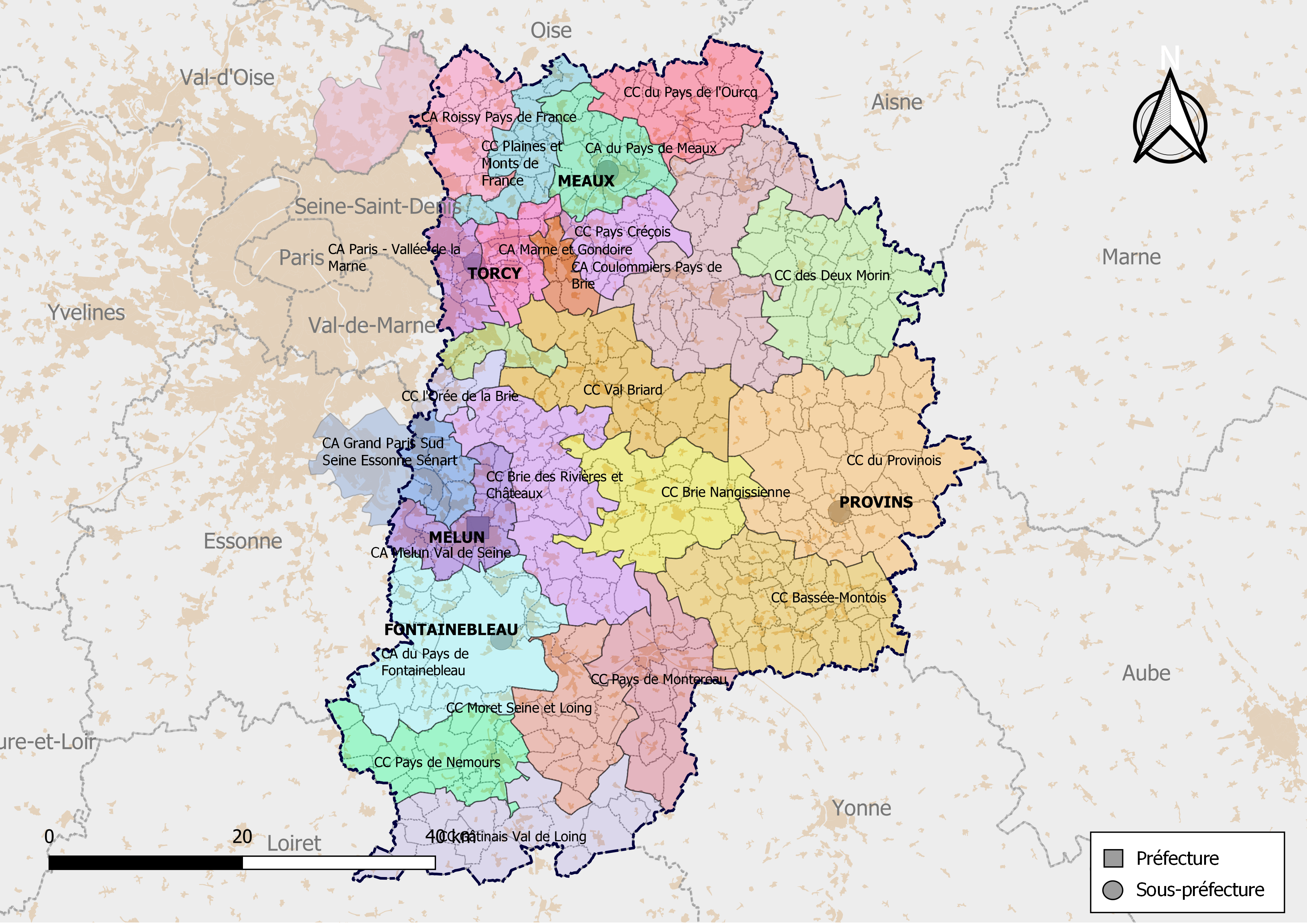 Seine et Marne carte de France