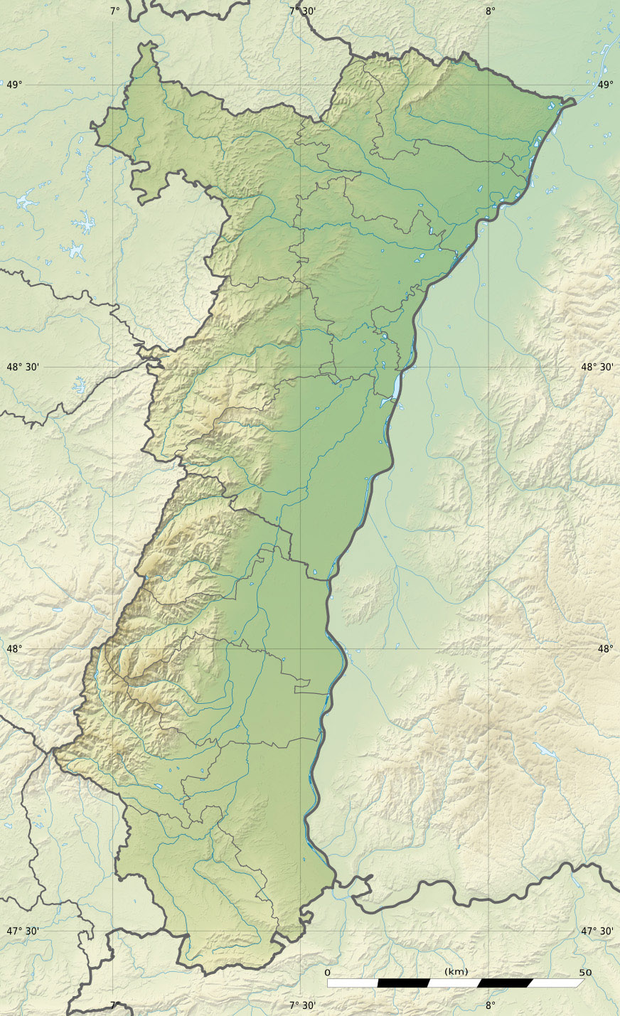 Between the Vosges Mountains and the Rhine River relief map of