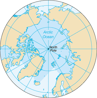 The North Pole, at the center of the Arctic Ocean