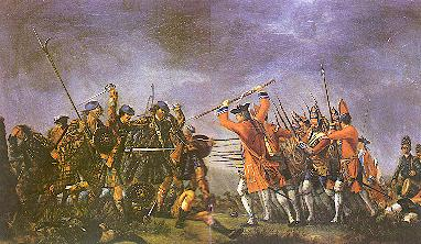 """Morier's painting """"Culloden"""" shows the highlanders still wearing the plaids which they normally set aside before battle, where they would fire a volley then run full tilt at the enemy with broadsword and targe in the Highland charge wearing only their shirts"""
