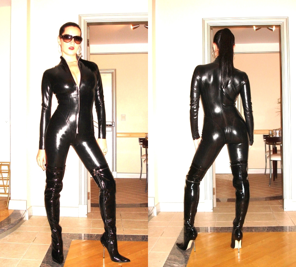Putting On Latex Catsuit