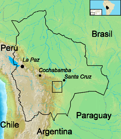 Mapa de Bolivia. El recuadro señala la zona de actuación de la guerrilla del Che Guevara en 1966 y 1967.