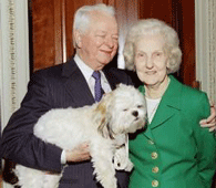 Senator Byrd, his wife, Erma, and dog, Trouble Byrdandhiswife.png