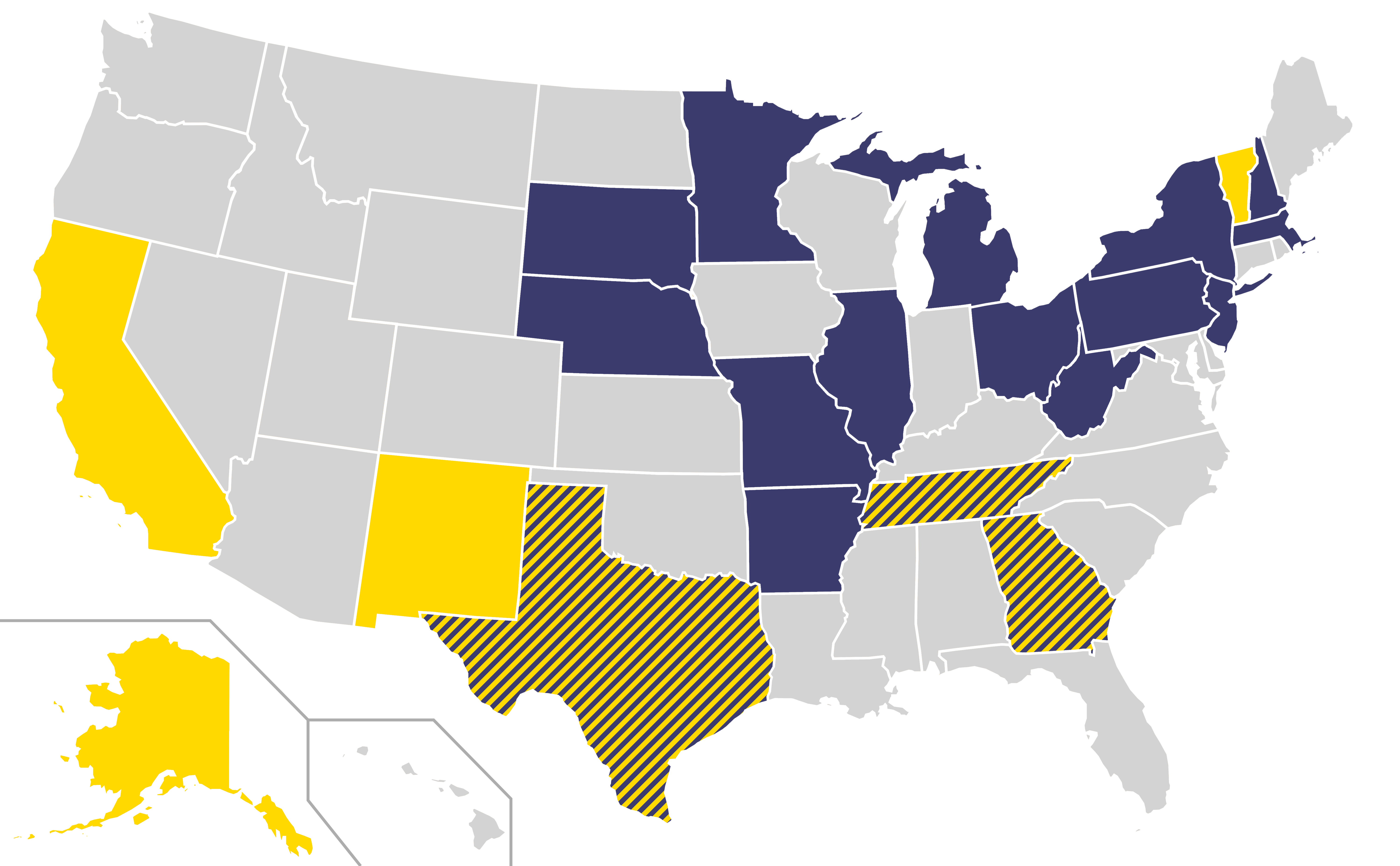 File combined home states of democratic party and for Presidents and their home states