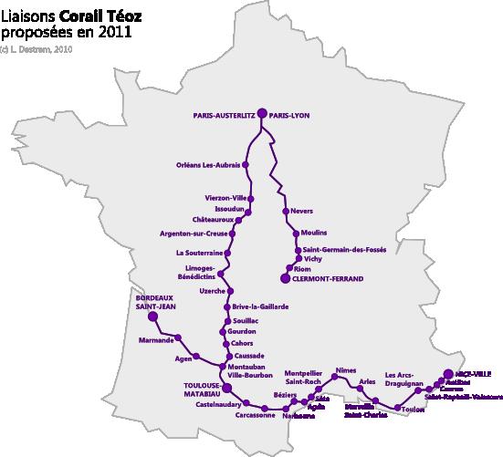 Схема маршрутов поездов Corail Teoz - на поезде в Каркасон, на поезде в Carcassonne