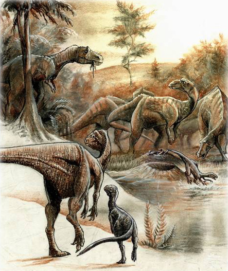 """Rekonstruierte Dinosauriervergesellschaftung am """"Egg Mountain"""" in Montana (USA)"""