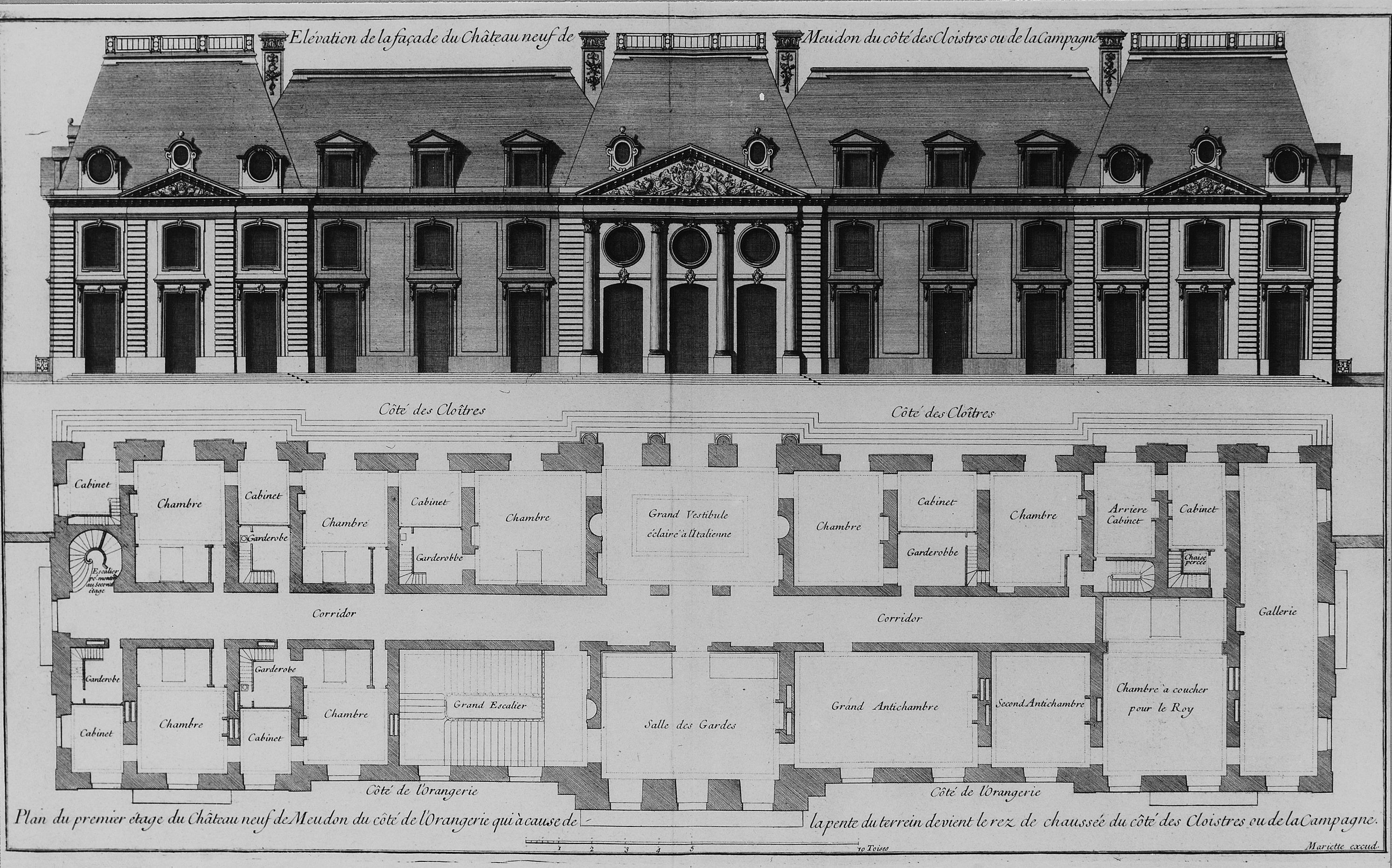 File elevation of courtyard facade and plan of first floor for Chateau blueprints