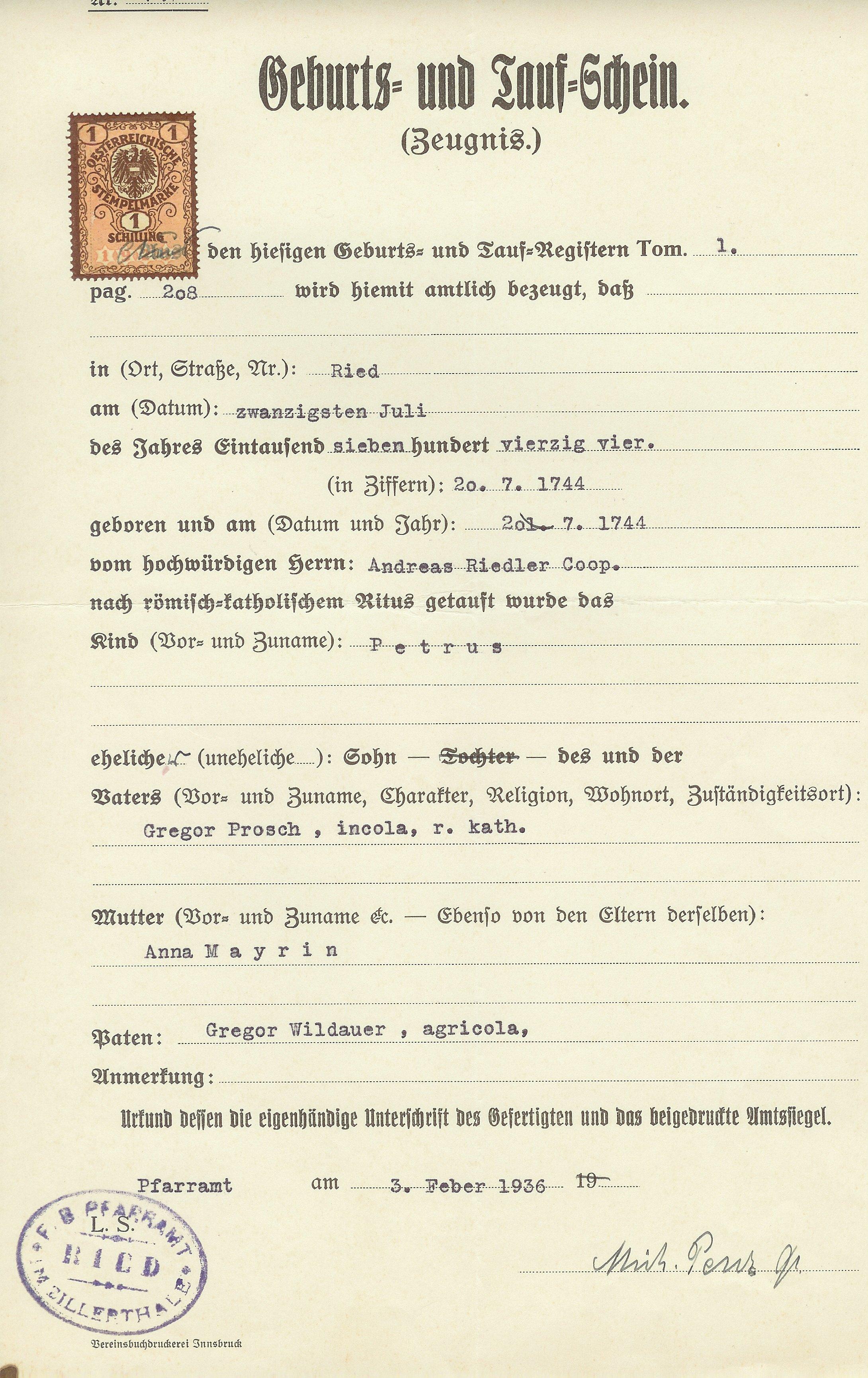 Datei:Geburts- und Taufschein Peter Prosch.jpg – Wikipedia