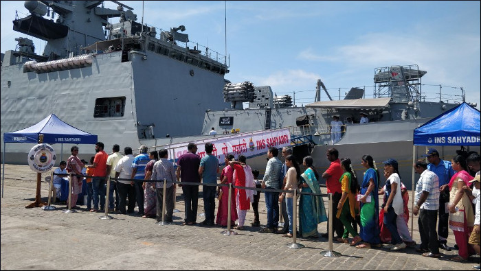 File:INS Sahyadri open to the public at Chennai Port as part of
