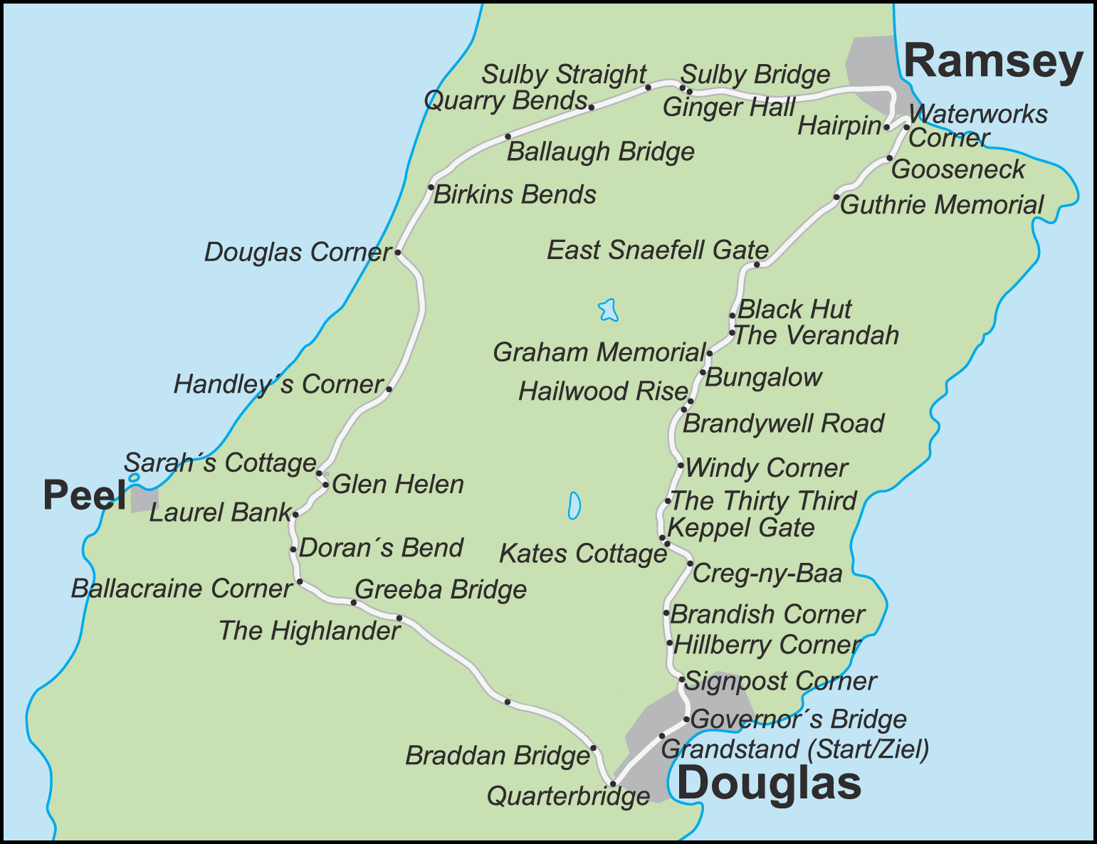 Isle Of Man Tt Course Map List of named corners of the Snaefell Mountain Course   Wikipedia