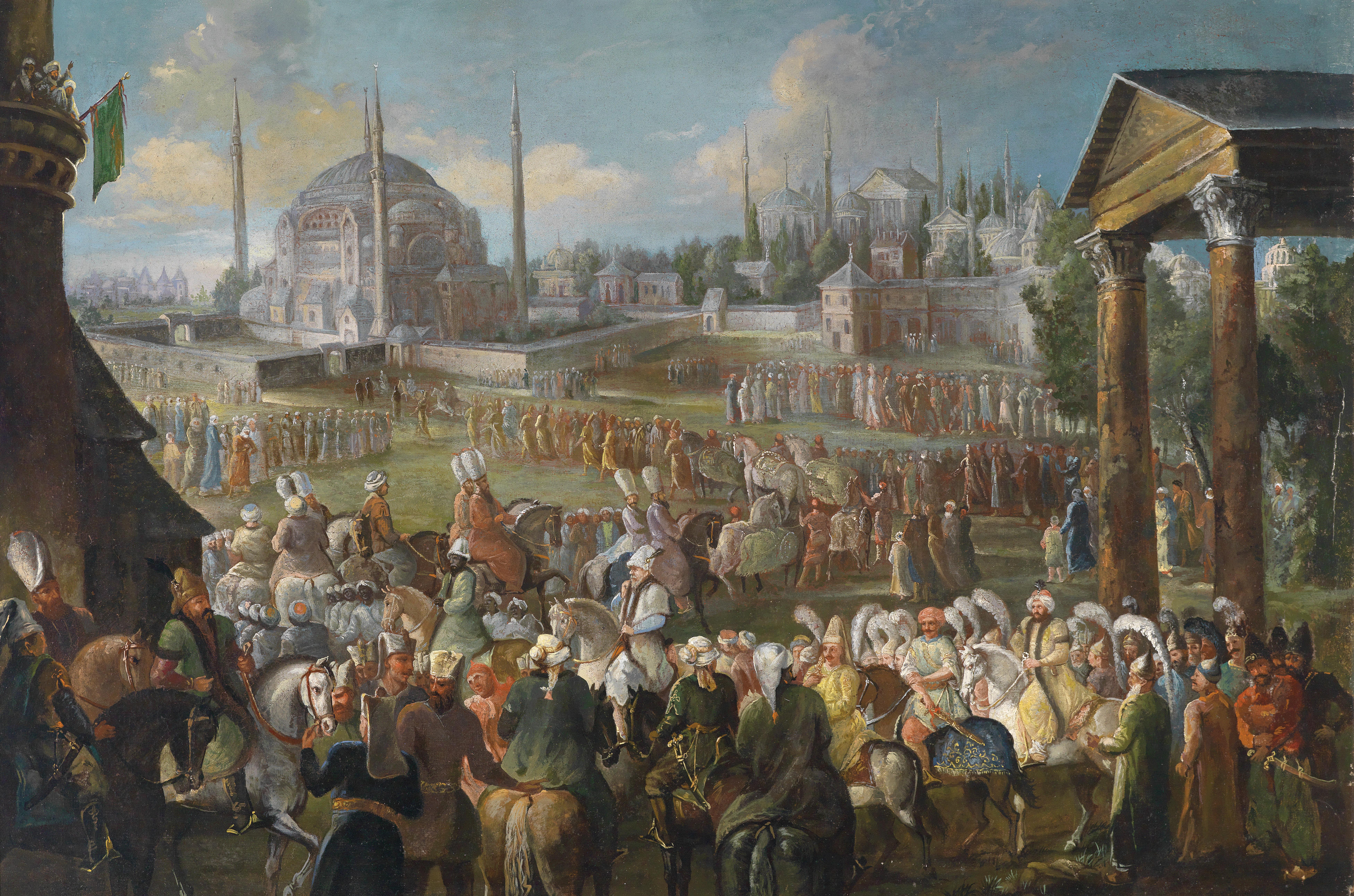 Procession of the Sultan in Istanbul, Jean Baptiste van Moor.