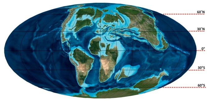 Les continents terrestres au Crétacé
