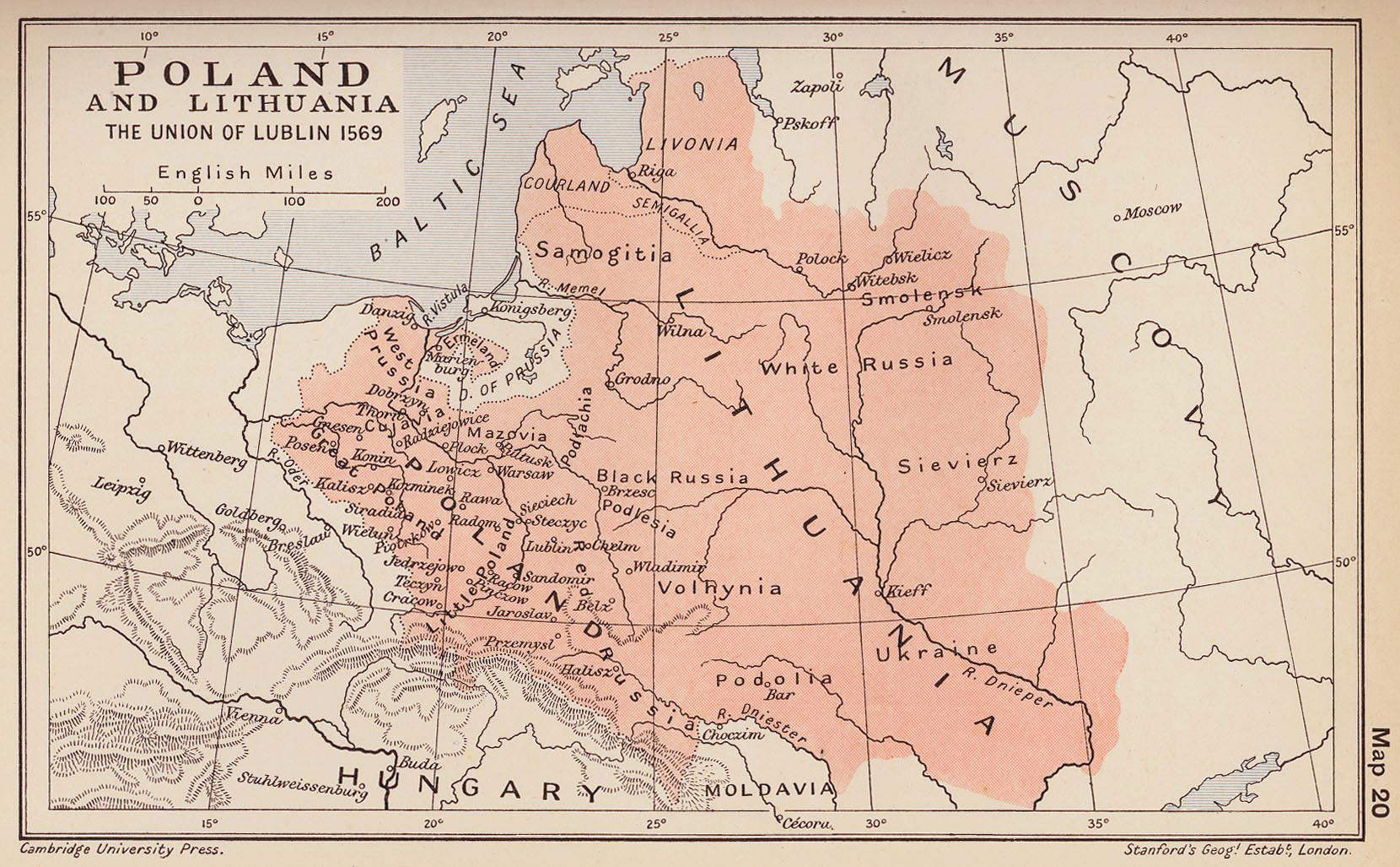 Lublin Poland  city pictures gallery : Map of Poland and Lithuania after the Union of Lublin 1569