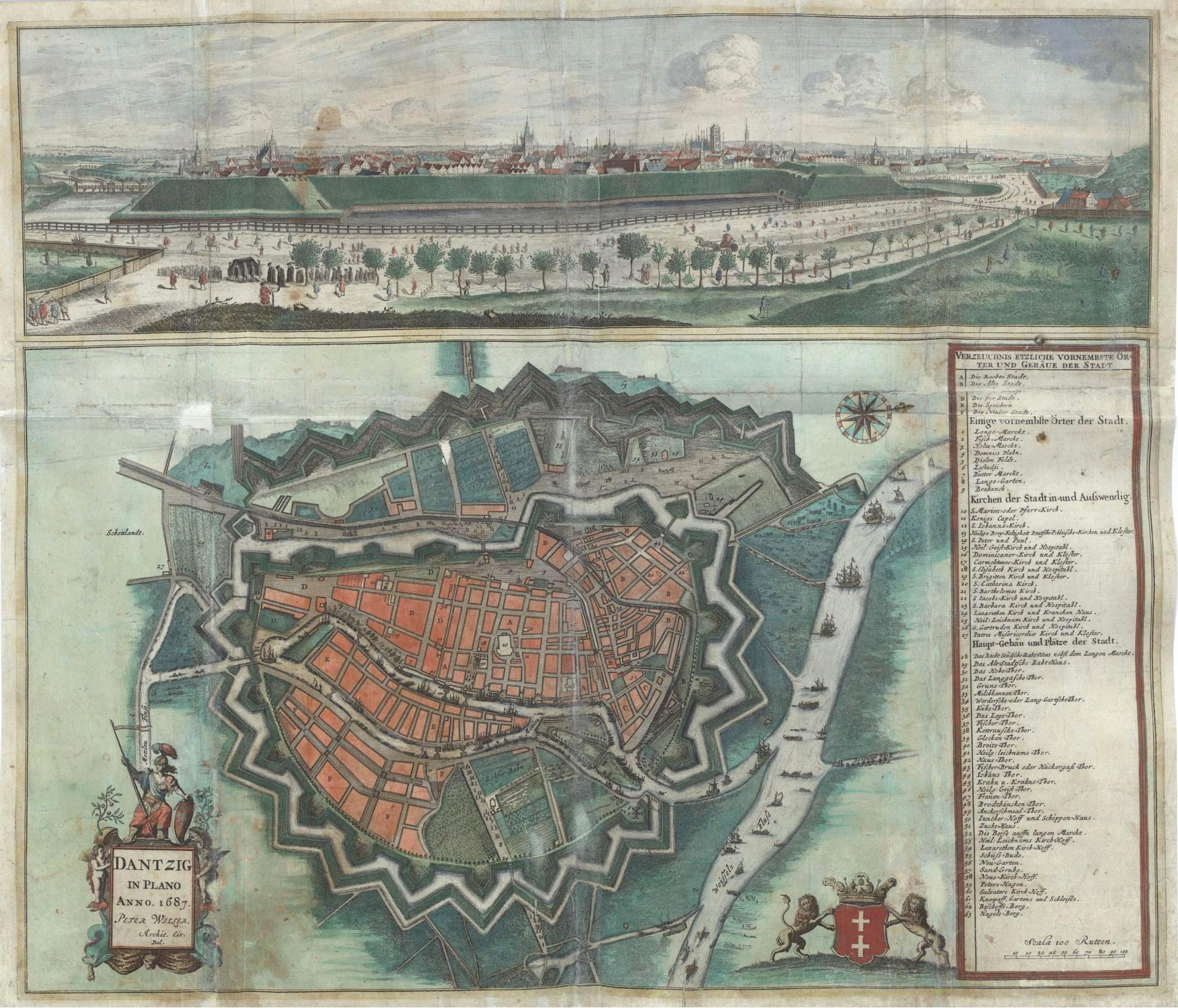 Gdańsk - mapa z 1687 roku