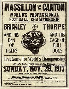 Massillon Tigers vs. Canton Bulldogs, advertisement for a 1917 game.