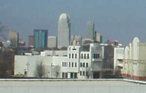 A view of NCSA's film school with downtown Win...