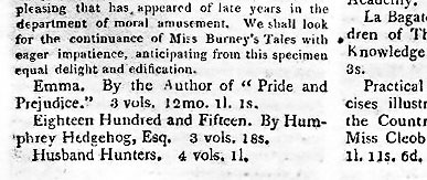 In 1816 the editors of The New Monthly Magazine noted Emma's publication, but chose not to review it. New-Monthly-Magazine-1816-25-p66-novels-inc-Austen-Emma-detail.jpg