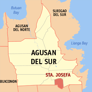 Map of Agusan del Sur showing the location of Santa Josefa