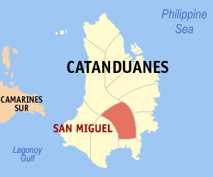 Map of Catanduanes showing the location of San Miguel
