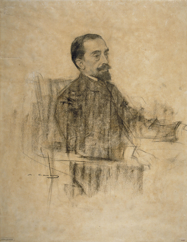 Joan Maragall, en un dibujo realizado por Ramon Casas (MNAC).