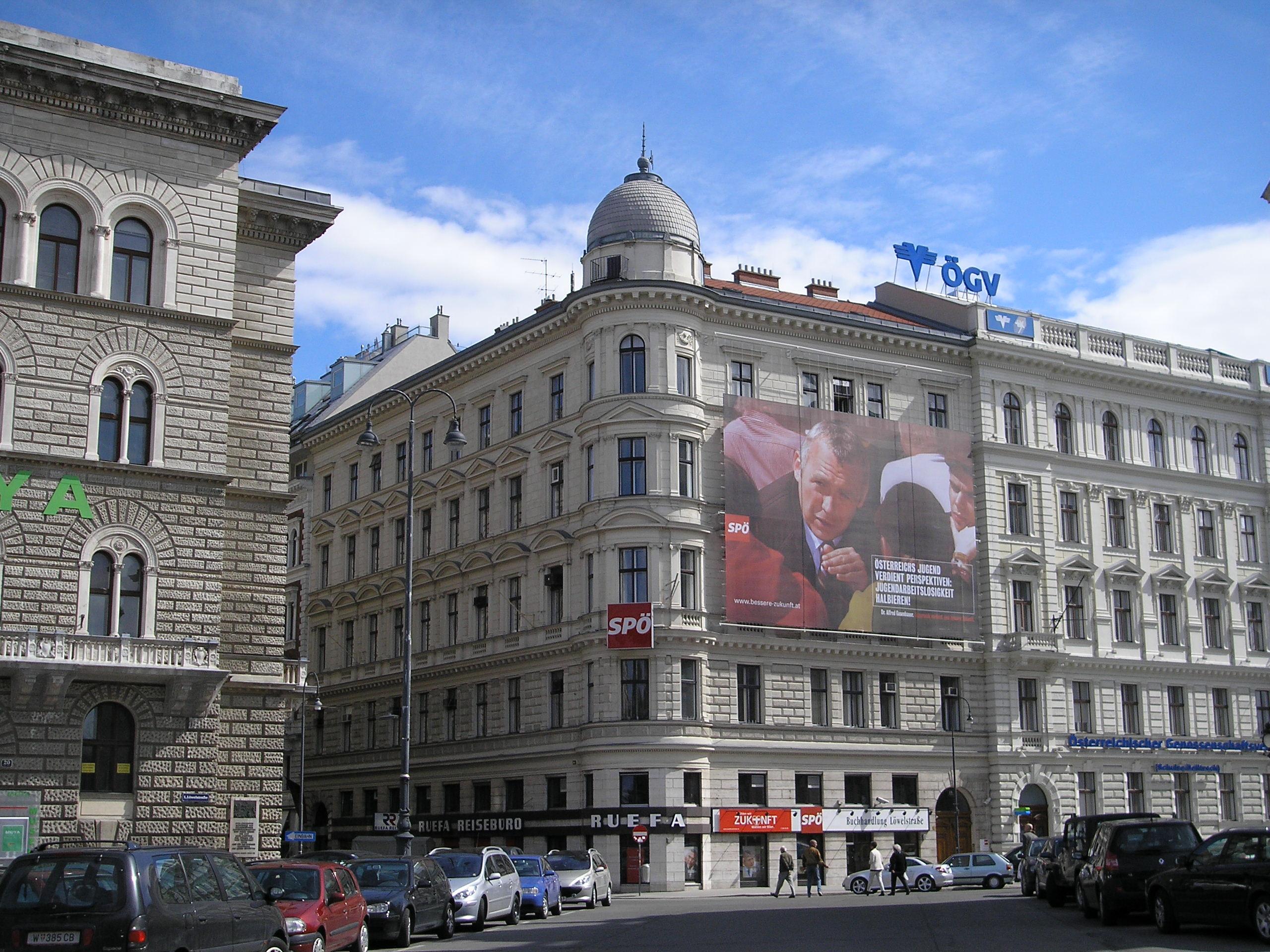 SPÖ-Zentrale (seit 7. Juni 1945) in der Löwelstraße 18 im 1. Wiener Gemeindebezirk