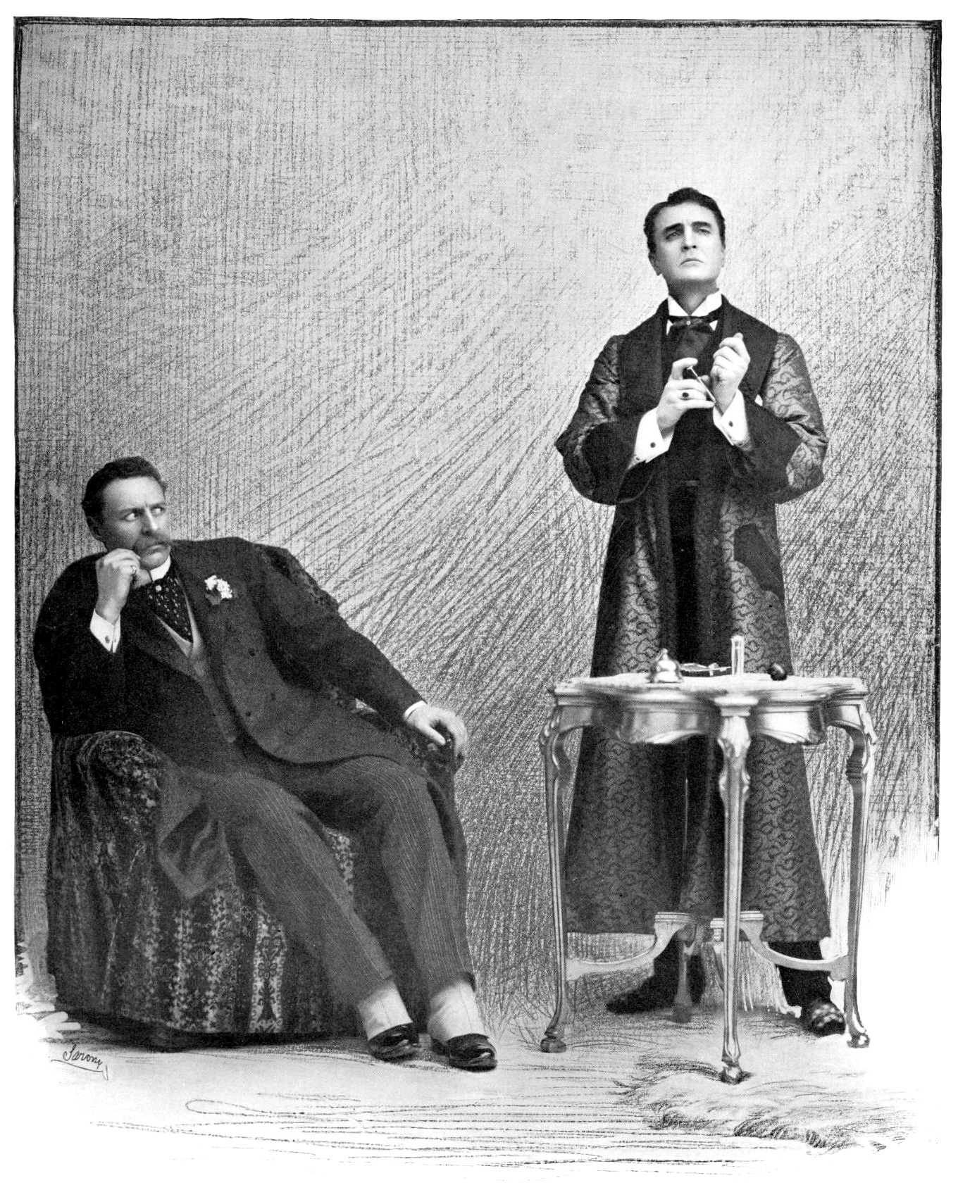 Holmes (William Gillette, Right) With Dr Watson (Bruce McRae, Left), In The  1899 Broadway Production Of Sherlock Holmes