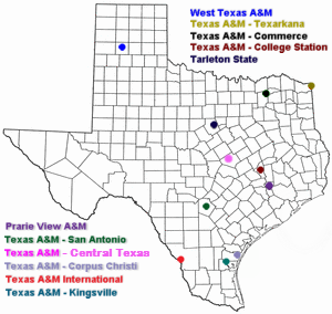 English: A map of the Texas A&M System campuse...
