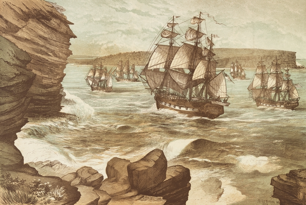 The First Fleet entering Port Jackson, January 26, 1788, drawn 1888 A9333001h.jpg