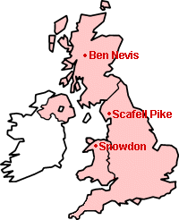 Outline map showing the location of the three peaks.