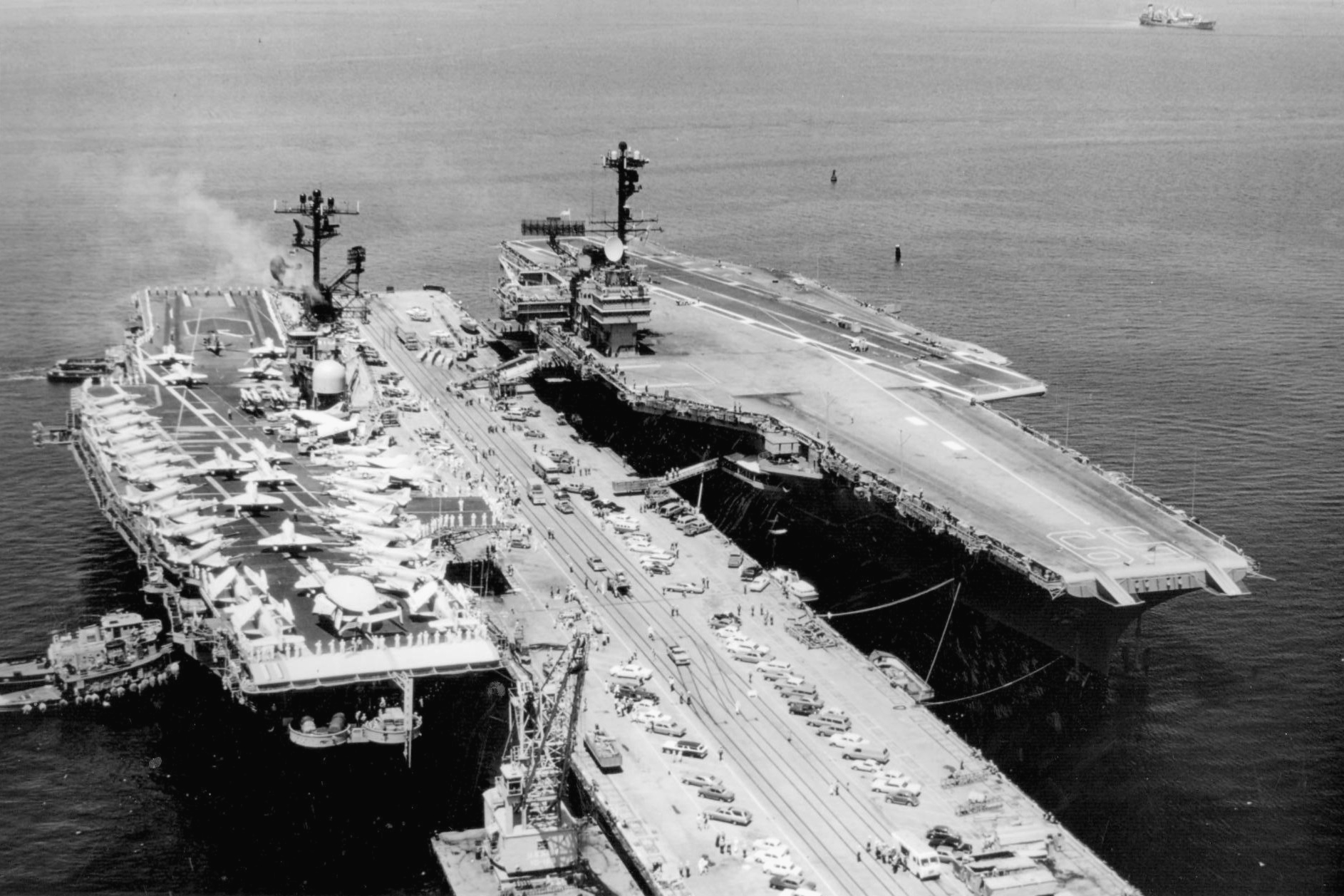 File:USS Intrepid (CVS-11) and Forrestal (CVA-59) at Norfolk 1968