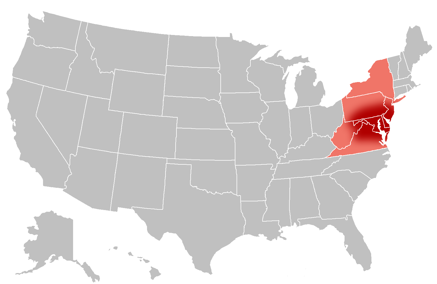Mid-Atlantic Region of the United States.  Map on Wikimedia Commons by Roke Grayshi