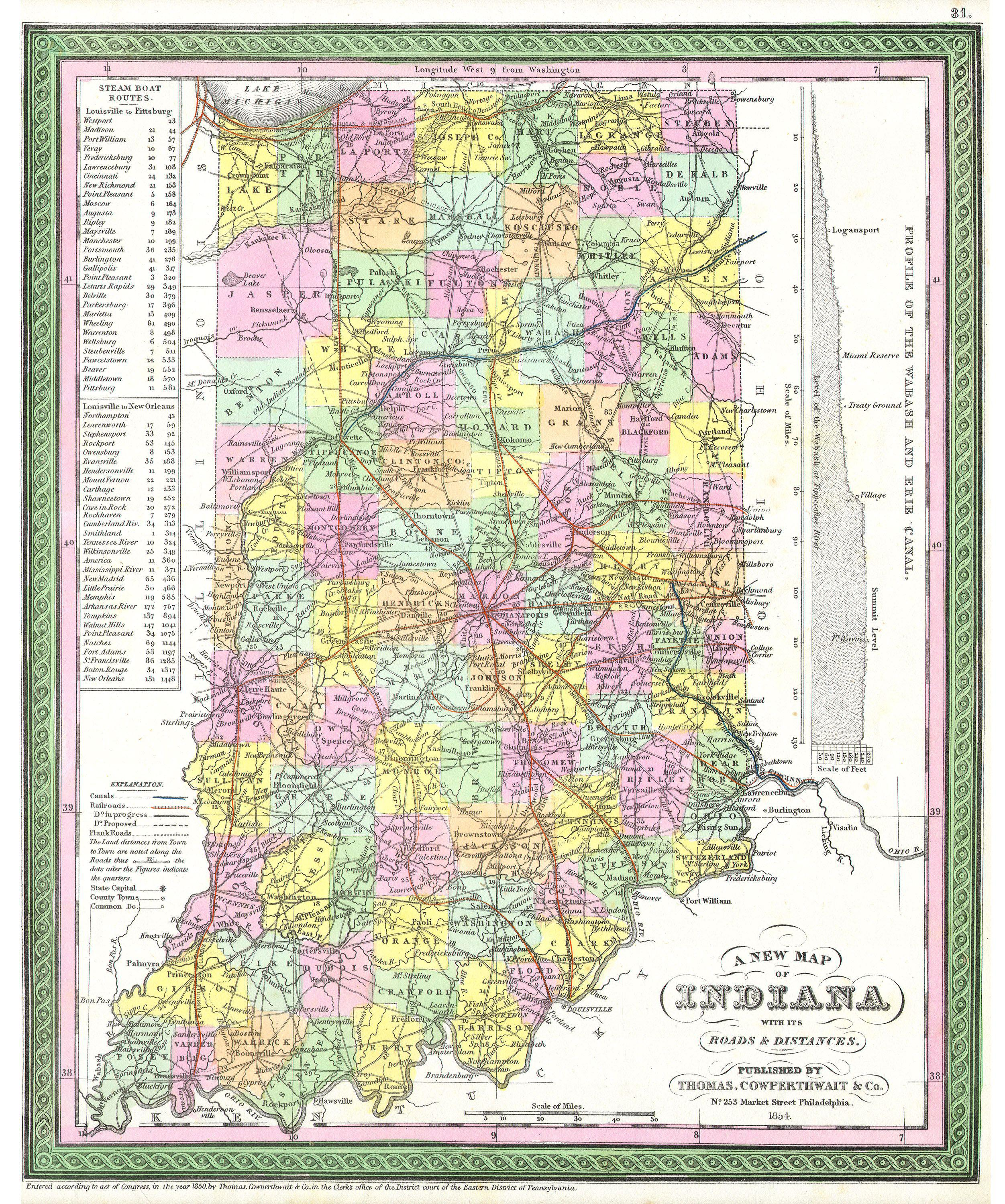 File Cowperthwait Mitchell Map Of Indiana Geographicus - Road map of indiana