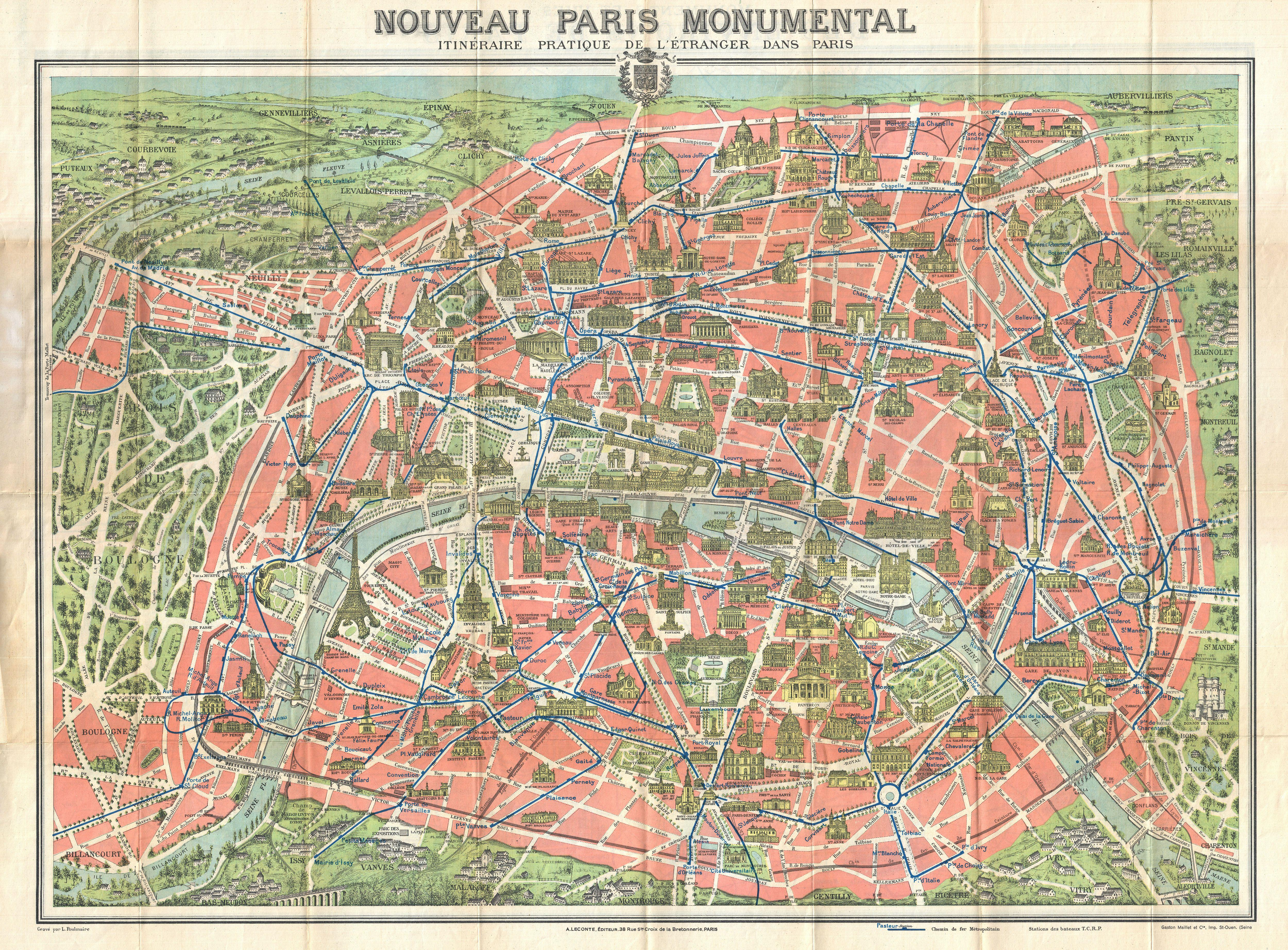 File1910 Leconte Monument Map of Paris France Geographicus – Tourist Map of Paris France