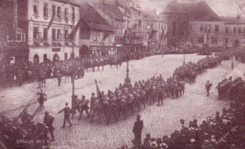 Ausmarsch des k.u.k. Infanterie-Regiments Nr. 92 aus Komotau 1914
