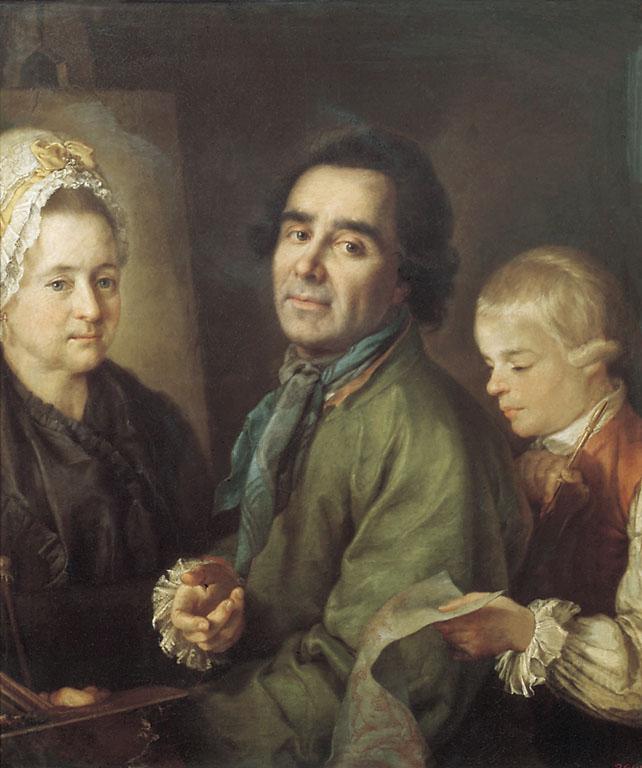 П.С.Дрождин. Портрет А.П. Антропова с сыном перед портретом жены Елены Васильевны