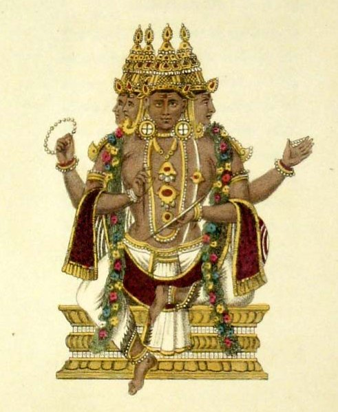 A handcoloured engraving of Brahma.