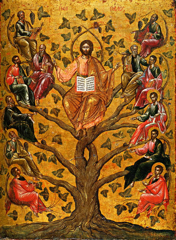 Jesus is the vine, are we fruit on his branches? dans images sacrée Christ_the_True_Vine_icon_(Athens,_16th_century)