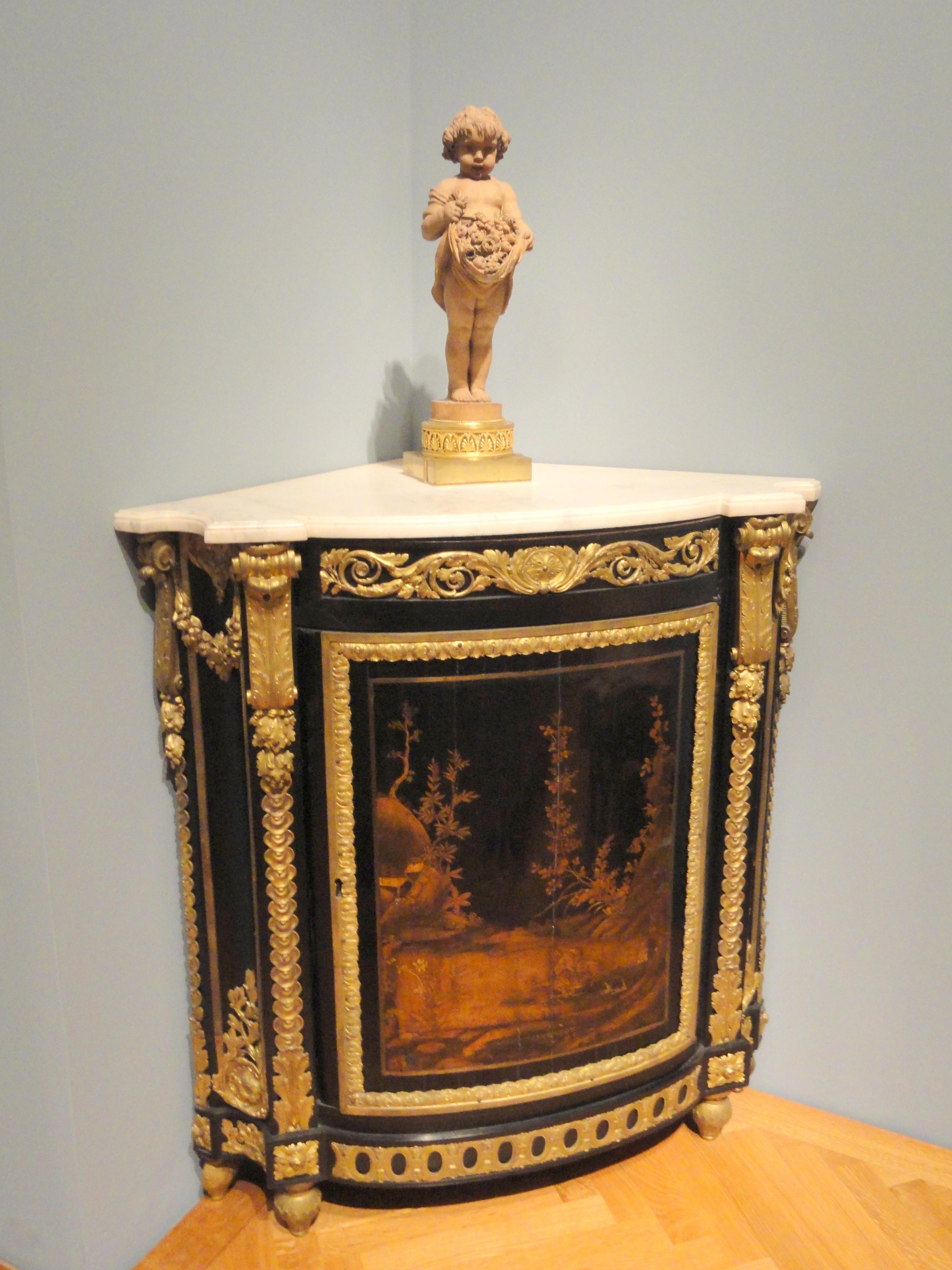 File Corner Cabinet About 1765 1770 Rene Dubois France Ebony Veneer Japanese Lacquer Gilt