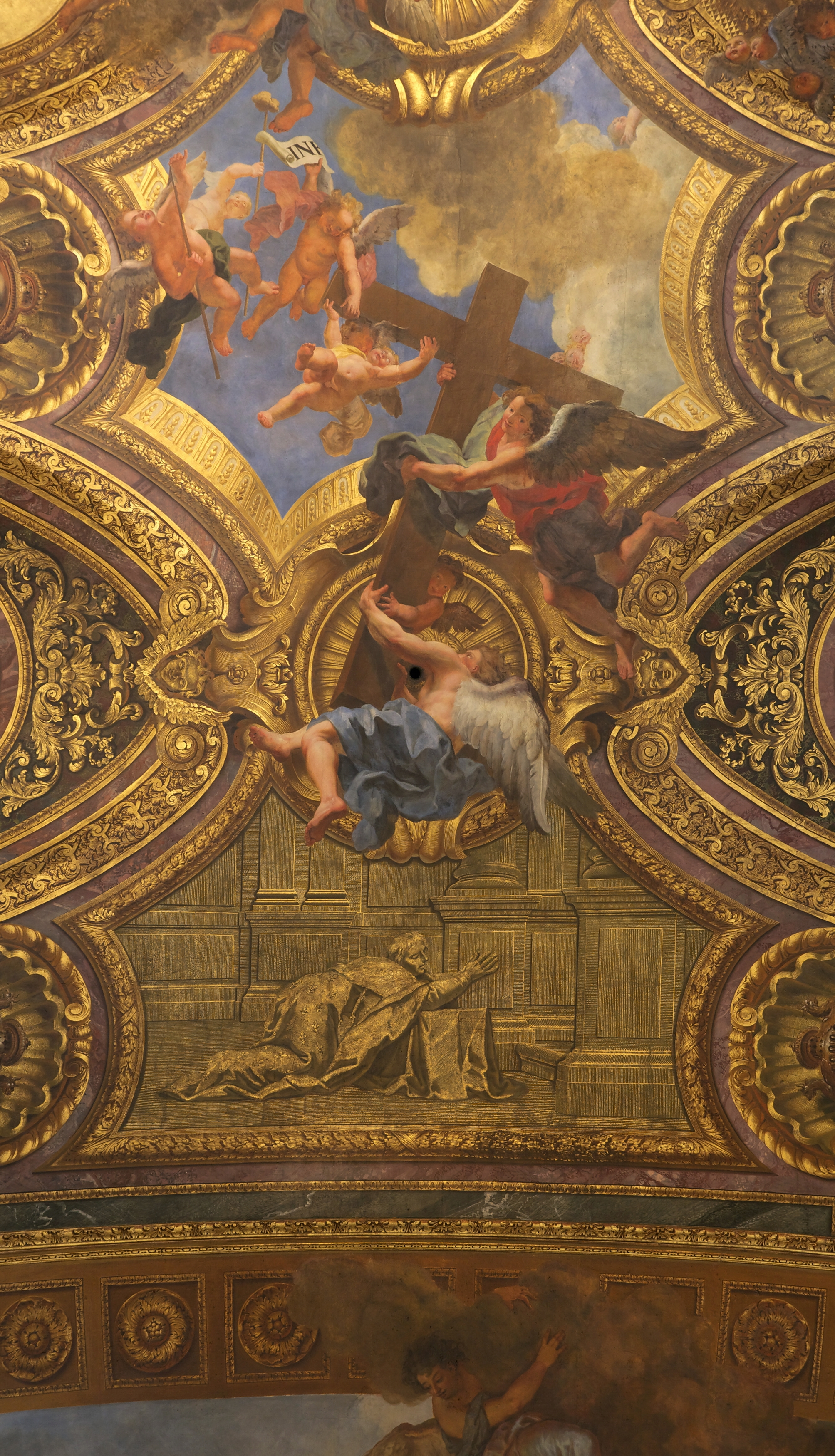 File d tail plafond chapelle royale versaille coypel - Plafond de la chapelle sixtine description ...