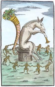 De hoorn des overvloeds in een andere vorm vaak afgebeeld aan de voeten van vrouwe Justitia