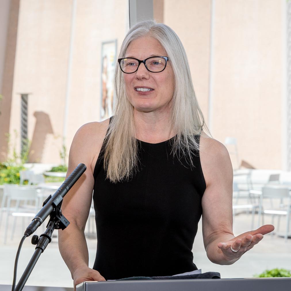 Looser speaking at ASU's 2019 graduation